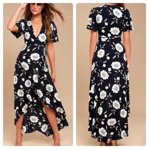 Lulu's Floral Flutter High Low Wrap Midi Dress XS